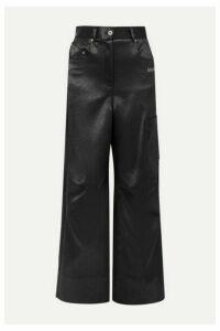 Off-White - Printed Duchesse-satin Pants - Black