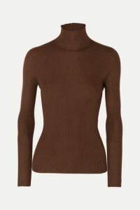 Akris - Ribbed Cashmere And Mulberry Silk-blend Turtleneck Sweater - Brown