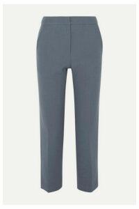 Pushbutton - Cropped Straight-leg Wool-blend Pants - Gray
