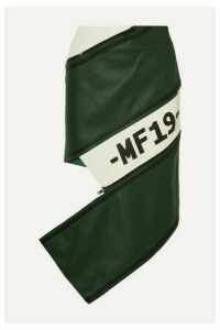Monse - Asymmetric Zip-detailed Paneled Leather Skirt - Green