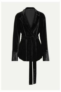 Michael Lo Sordo - Belted Velvet Blazer - Black
