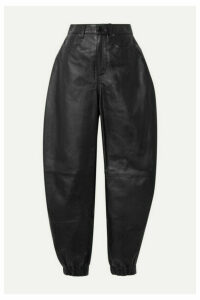The Attico - Leather Tapered Pants - Black