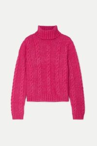 Versace - Cropped Metallic Cable-knit Turtleneck Sweater - Pink