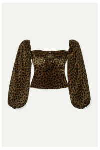 Attico - Bow-detailed Animal-print Velvet Top - Brown