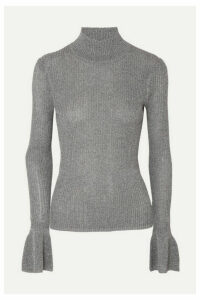 Veronica Beard - Lilia Metallic Ribbed-knit Turtleneck Sweater - Gray