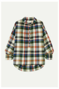 The Great - The Painter's Smock Checked Cotton-flannel Shirt - Navy