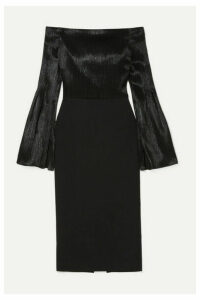 Roland Mouret - Anina Off-the-shoulder Stretch-crepe And Silk-blend Lamé Dress - Black