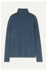Handvaerk - Pima Cotton And Alpaca-blend Turtleneck Top - Blue