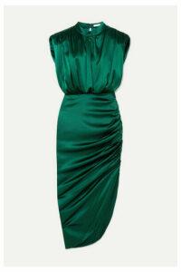 Veronica Beard - Kendall Gathered Stretch-silk Satin Dress - Dark green