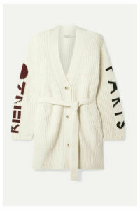 KENZO - Belted Ribbed Intarsia Wool-blend Cardigan - Cream