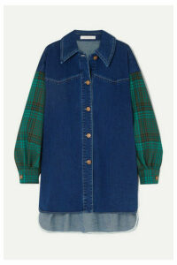 See By Chloé - Oversized Denim And Checked Twill Shirt - Mid denim