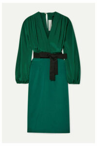 Silvia Tcherassi - Deny Belted Silk Crepe De Chine And Silk-blend Dress - Forest green