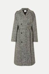 Stella McCartney - Oversized Double-breasted Belted Mélange Wool-tweed Coat - Black