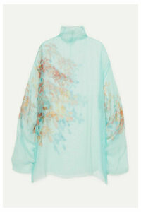 Dries Van Noten - Darci Oversized Floral-print Silk-tulle Tunic - Light blue