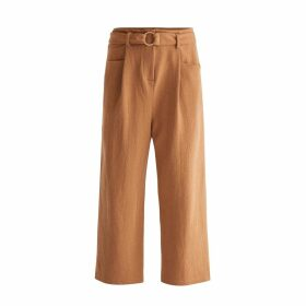 PAISIE - Jersey Wide Leg Trousers With Front Pleats & O-Ring Belt In Camel