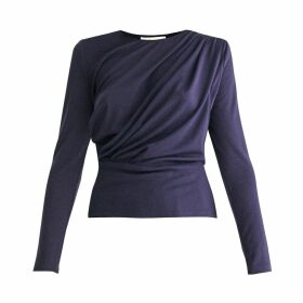 PAISIE - Diagonal Draped Top With Teardrop Cut Out Back In Navy