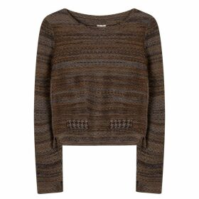 STUDIO MYR - Boatneck Wool Jumper In Audrey Hepburn Style Tweed-Raven