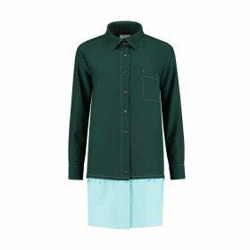blonde gone rogue - Raw Edge Oversized Shirt In Dark Green