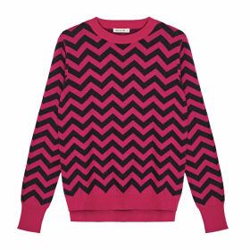 IGGY & BURT - Chevron Crew Neck Jumper Pink & Grey