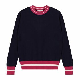 IGGY & BURT - Contrast Crew Neck Jumper In Navy