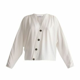 PAISIE - Batwing Blouse With Ruched Shoulders & Diagonal Buttons In White
