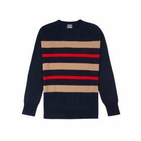 Orwell + Austen Cashmere - Purl Stripe Knit In Navy