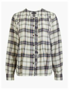 M&S Collection Cotton Rich Pintuck Checked Blouse