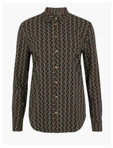 M&S Collection Cotton Rich Horseshoe Print Slim Fit Shirt
