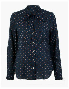 M&S Collection Pure Cotton Polka Dot Tie Neck Blouse
