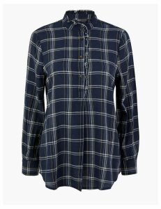 M&S Collection Cotton Rich Checked Longline Shirt