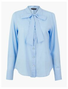 M&S Collection Pure Cotton Tie Neck Shirt