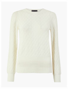 M&S Collection Textured Diamond Stitch Jumper