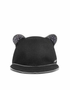 Karl Lagerfeld Designer Women's Hats, Choupette Ears Zip Cap
