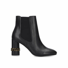 Kurt Geiger London Raquel Ankle Boot - Black Chain Detail Block Heel Ankle Boots