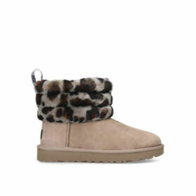 Ugg Fluff Mini Quilted - Brown Short Boots With Leopard Print Detail