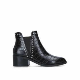 Steve Madden Cade - Black Studded Croc Print Block Heel Ankle Boots