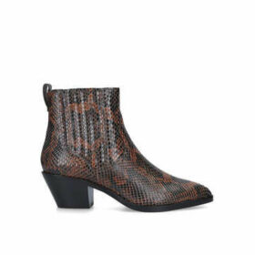 Ash Floyd Bis - Brown Snake Print Western Style Ankle Boots