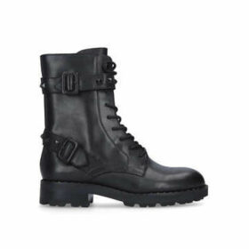 Ash Witch Bis - Black Lace Up Biker Boots