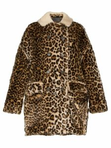 R13 oversized shearling hunting coat - 242 Leopard