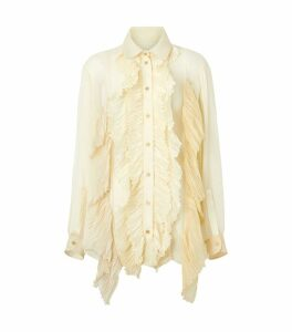 Ruffle Oversized Silk Blouse