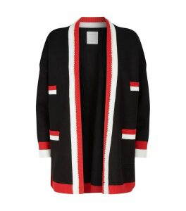 Stripe-Trim Open-Front Cardigan