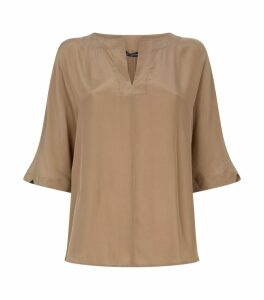 Short-Sleeved Satin Blouse