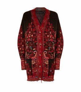 Knitted Floral PrintCardigan
