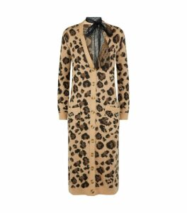 Long Leopard Print Mohair Cardigan