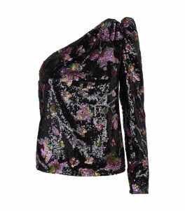 One-Shoulder Floral Print Sequin Top