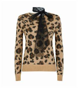 Leopard Print Neck Tie Sweater