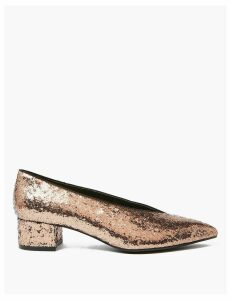 M&S Collection Glitter Block Heel Pointed Toe Court Shoes