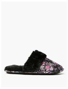 M&S Collection Animal Print Faux Fur Cuff Mules