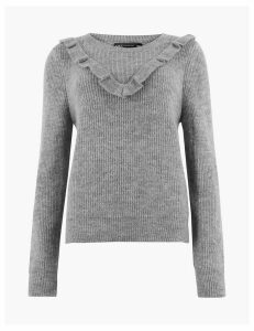 M&S Collection Textured Frill Detail Long Sleeve Jumper