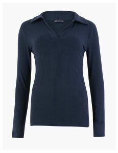 M&S Collection Ribbed Fitted Polo Top